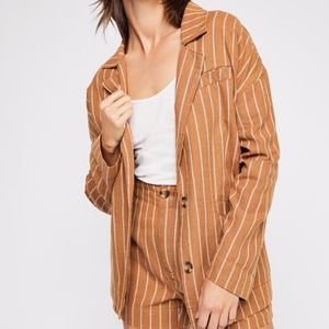 NEW Free People Brown / White Striped Oversized